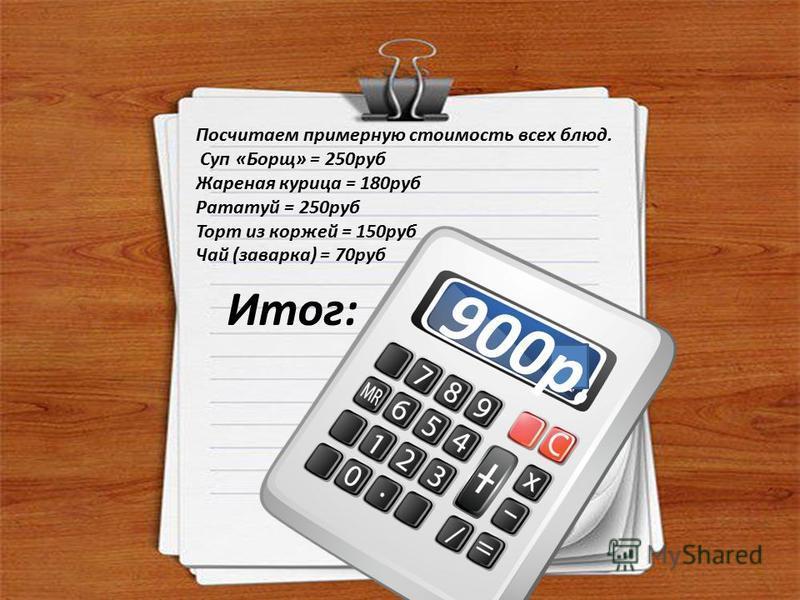 Посчитаем примерную стоимость всех блюд. Суп «Борщ» = 250 руб Жареная курица = 180 руб Рататуй = 250 руб Торт из коржей = 150 руб Чай (заварка) = 70 руб 9 0 0 р. Итог: