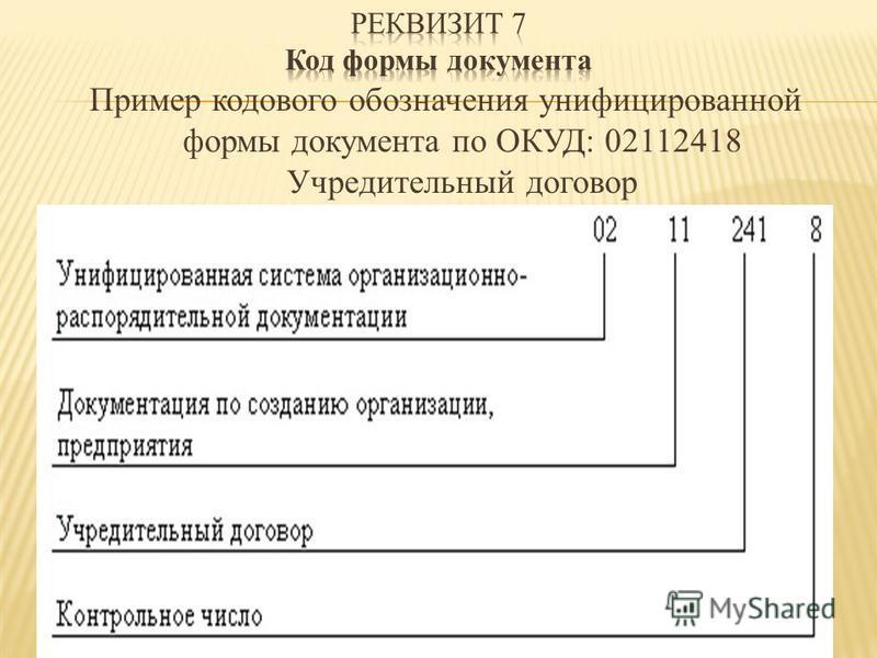 Пример кодового обозначения унифицированной формы документа по ОКУД: 02112418 Учредительный договор