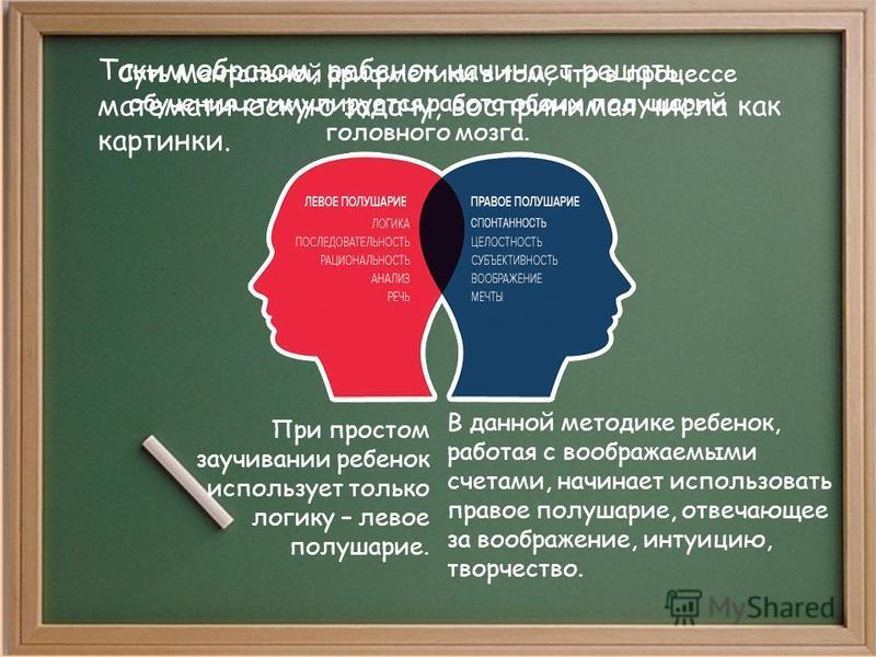Суть Ментальной арифметики в том, что в процессе обучения стимулируется работа обоих полушарий головного мозга. При простом заучивании ребенок использует только логику – левое полушарие. В данной методике ребенок, работая с воображаемыми счетами, нач