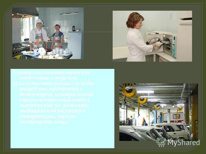 5 ) патологоанатомическое отделение с моргом ; 6) вспомогательные службы - пищеблок, прачечная с дезкамерой, центральный стерилизационный отдел, мастерские по ремонту медицинской техники и аппаратуры, гараж, овощехранилище ;