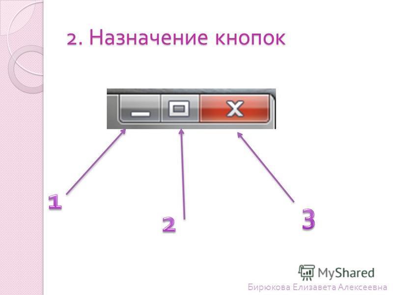2. Назначение кнопок Бирюкова Елизавета Алексеевна