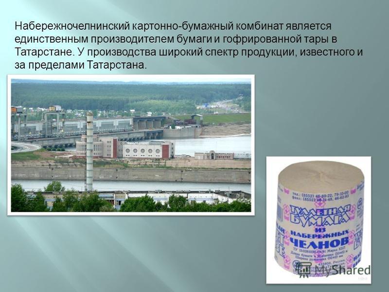 Набережночелнинский картонно-бумажный комбинат является единственным производителем бумаги и гофрированной тары в Татарстане. У производства широкий спектр продукции, известного и за пределами Татарстана.