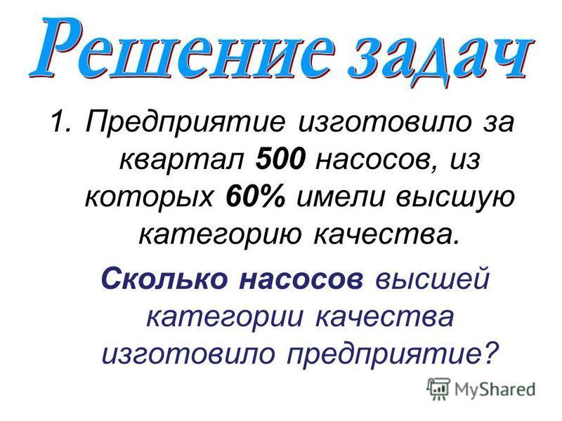 1. Предприятие изготовило за квартал 500 насосов, из которых 60% имели высшую категорию качества. Сколько насосов высшей категории качества изготовило предприятие?