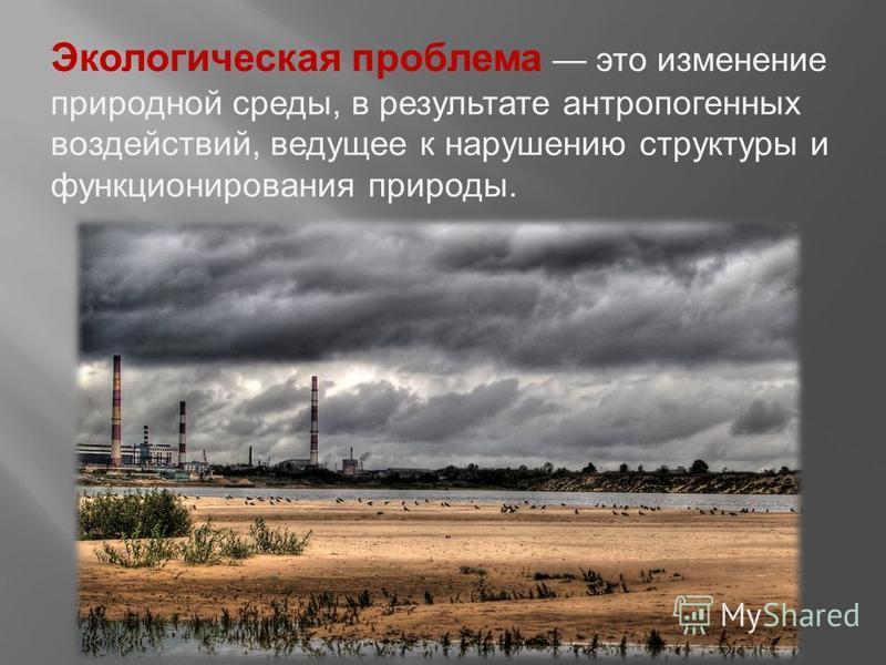Презентация на тему Экологические проблемы России Скачать  2 Экологическая проблема это изменение природной среды