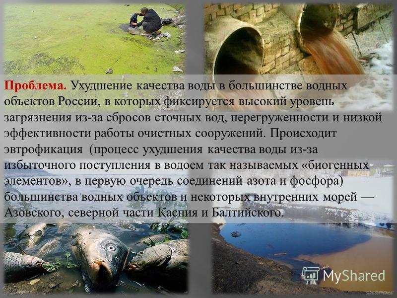 Проблема. Ухудшение качества воды в большинстве водных объектов России, в которых фиксируется высокий уровень загрязнения из - за сбросов сточных вод, перегруженности и низкой эффективности работы очистных сооружений. Происходит эвтрофикация ( процес