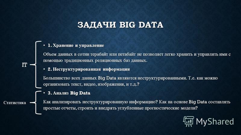 ЗАДАЧИ BIG DATA 1. Хранение и управление 1. Хранение и управление Объем данных в сотни терабайт или петабайт не позволяет легко хранить и управлять ими с помощью традиционных реляционных баз данных. 2. Неструктурированная информация 2. Неструктуриров