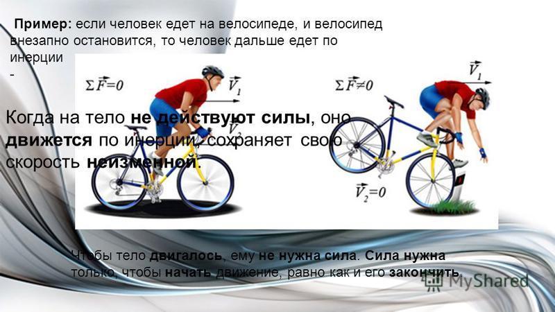 Пример: если человек едет на велосипеде, и велосипед внезапно остановится, то человек дальше едет по инерции - Чтобы тело двигалось, ему не нужна сила. Сила нужна только, чтобы начать движение, равно как и его закончить. Когда на тело не действуют си