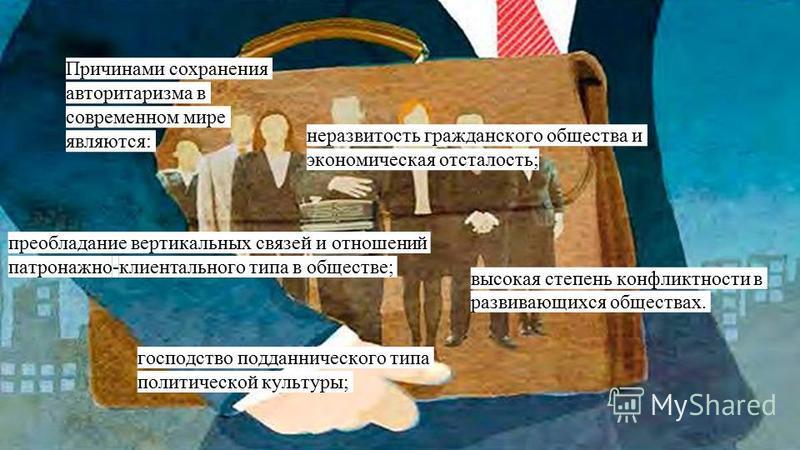 Причинами сохранения авторитаризма в современном мире являются: неразвитость гражданского общества и экономическая отсталость; преобладание вертикальных связей и отношений патронажной-клиент зального типа в обществе; господство подданнического типа п