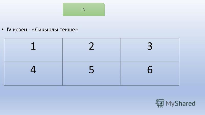 IV кезең - «Сиқырлы текше» I V 123 456