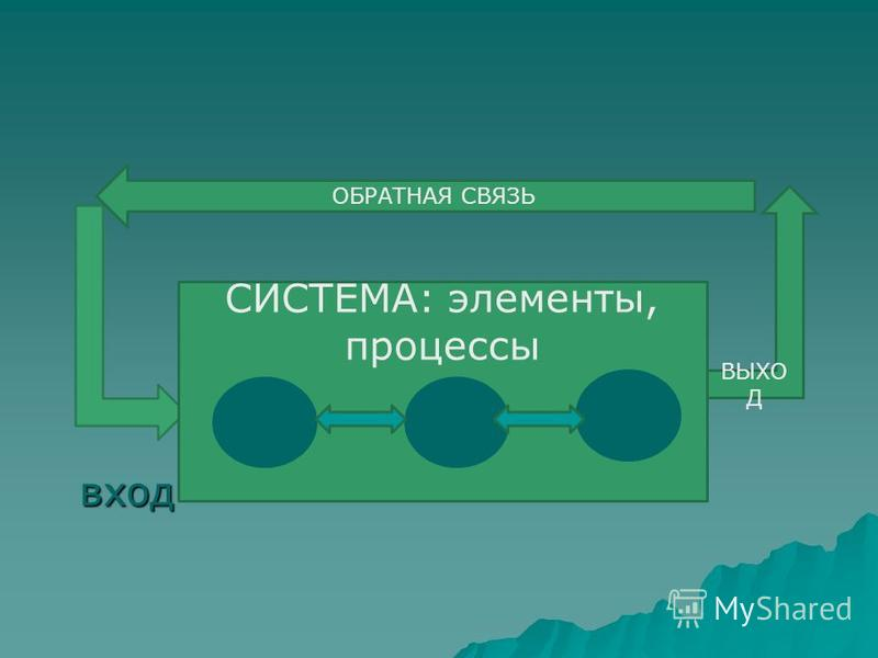 вход СИСТЕМА: элементы, процессы ВЫХО Д ОБРАТНАЯ СВЯЗЬ