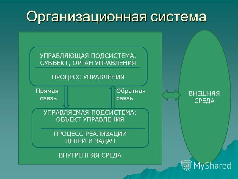 Организационная система Прямая Обратная связьсвязь УПРАВЛЯЕМАЯ ПОДСИСТЕМА: ОБЪЕКТ УПРАВЛЕНИЯ ПРОЦЕСС РЕАЛИЗАЦИИ ЦЕЛЕЙ И ЗАДАЧ ВНУТРЕННЯЯ СРЕДА УПРАВЛЯЮЩАЯ ПОДСИСТЕМА: СУБЪЕКТ, ОРГАН УПРАВЛЕНИЯ ПРОЦЕСС УПРАВЛЕНИЯ ВНЕШНЯЯ СРЕДА