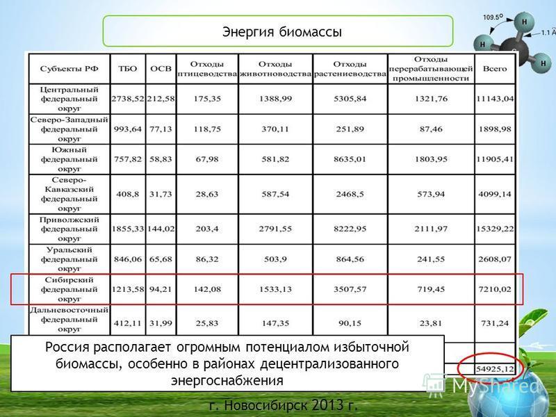 г. Новосибирск 2013 г. БГУ Энергия биомассы Россия располагает огромным потенциалом избыточной биомассы, особенно в районах децентрализованного энергоснабжения