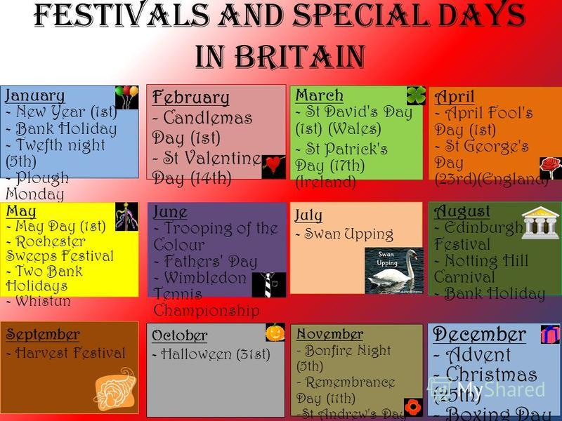 Festivals and Special Days in Britain January - New Year (1st) - Bank Holiday - Twefth night (5th) - Plough Monday February - Candlemas Day (1st) - St Valentines Day (14th) March - St David's Day (1st) (Wales) - St Patrick's Day (17th) (Ireland) Apri