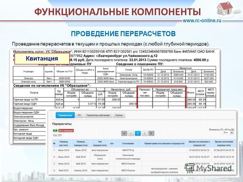 www.rc-online.ru ПРОВЕДЕНИЕ ПЕРЕРАСЧЕТОВ ФУНКЦИОНАЛЬНЫЕ КОМПОНЕНТЫ Проведение перерасчетов в текущем и прошлых периодах (с любой глубиной периодов).