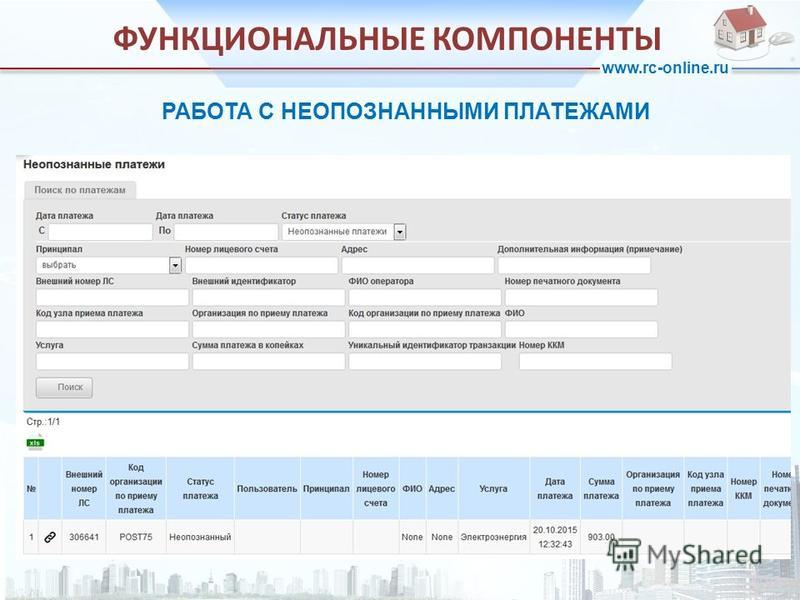 www.rc-online.ru РАБОТА С НЕОПОЗНАННЫМИ ПЛАТЕЖАМИ ФУНКЦИОНАЛЬНЫЕ КОМПОНЕНТЫ