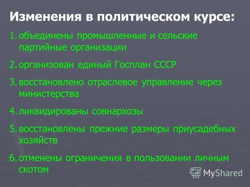 Изменения в политическом курсе: 1. объединены промышленные и сельские партийные организации 2. организован единый Госплан СССР 3. восстановлено отраслевое управление через министерства 4. ликвидированы совнархозы 5. восстановлены прежние размеры приу