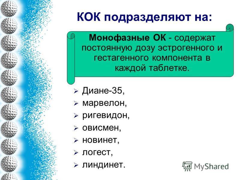КОК подразделяют на: Диане-35, марвелон, ригевидон, овисмен, новинет, логест, линдинет. Монофазные ОК - содержат постоянную дозу эстрогенного и гестагенного компонента в каждой таблетке.