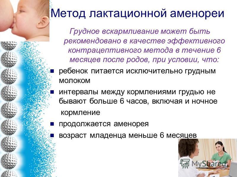 Метод лактационной аменореи Грудное вскармливание может быть рекомендовано в качестве эффективного контрацептивного метода в течение 6 месяцев после родов, при условии, что: ребенок питается исключительно грудным молоком интервалы между кормлениями г