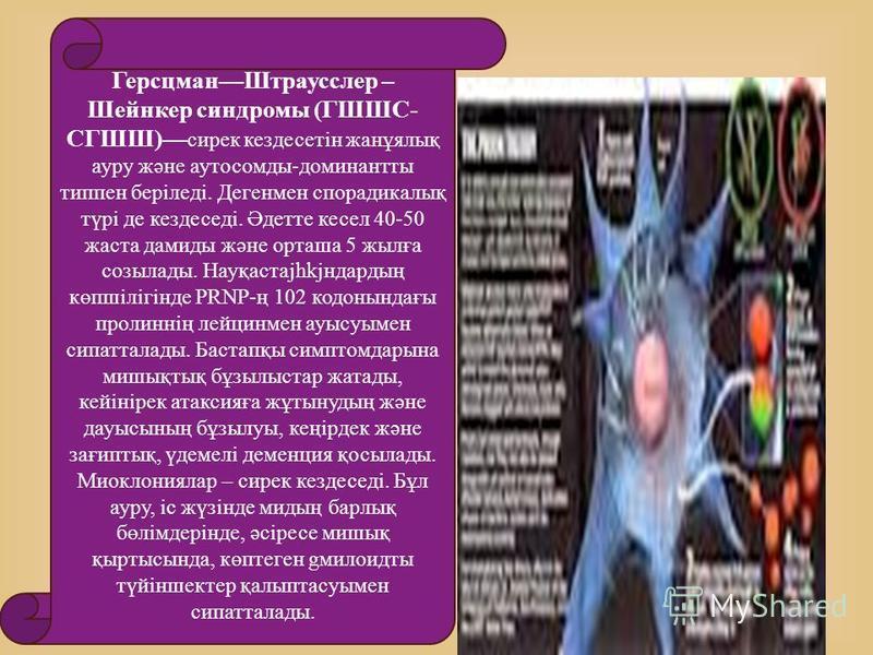 ГерсцманШтраусслер – Шейнкер синдромы (ГШШС- СГШШ) сирек кездесетін жанұялық ауру және аутосомды-доминантты типпен беріледі. Дегенмен спорадикалық түрі де кездеседі. Әдетте кесел 40-50 жаста дамиды және орташа 5 жылға созылады. Науқастаjhkjндардың кө