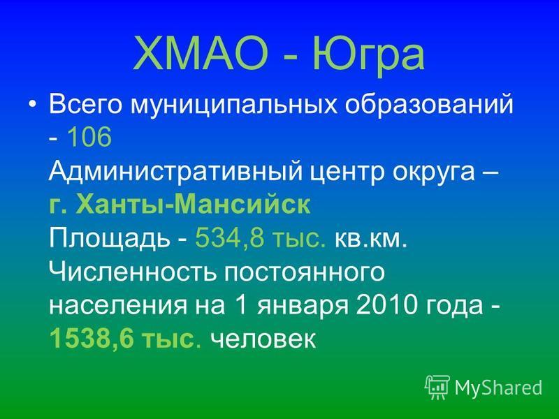 ХМАО - Югра Всего муниципальных образований - 106 Административный центр округа – г. Ханты-Мансийск Площадь - 534,8 тыс. кв.км. Численность постоянного населения на 1 января 2010 года - 1538,6 тыс. человек