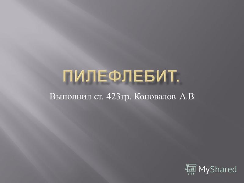 Выполнил ст. 423 гр. Коновалов А. В