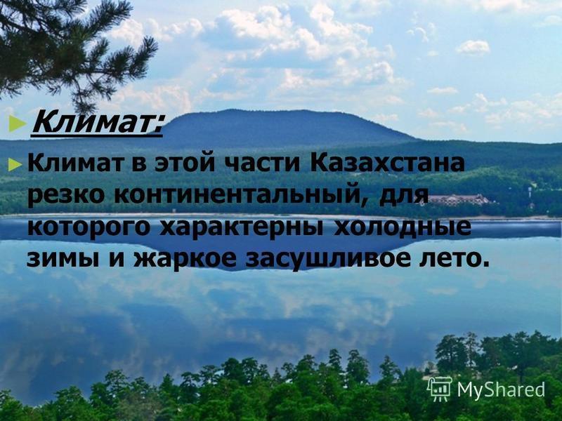 Климат: Климат в этой части Казахстана резко континентальный, для которого характерны холодные зимы и жаркое засушливое лето.