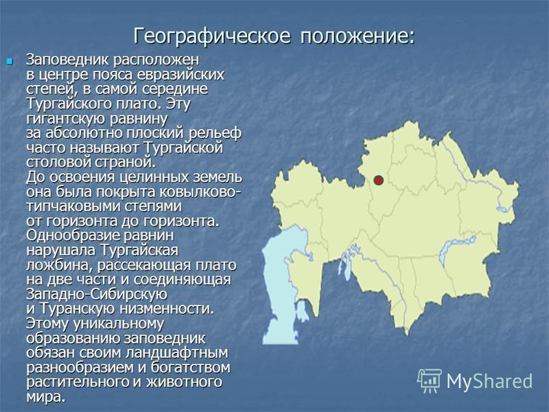 Географическое положение: Заповедник расположен в центре пояса евразийских степей, в самой середине Тургайского плато. Эту гигантскую равнину за абсолютно плоский рельеф часто называют Тургайской столовой страной. До освоения целинных земель она была
