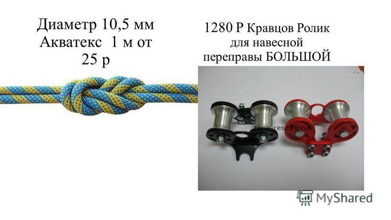 Диаметр 10,5 мм Акватекс 1 м от 25 р 1280 P Кравцов Ролик для навесной переправы БОЛЬШОЙ