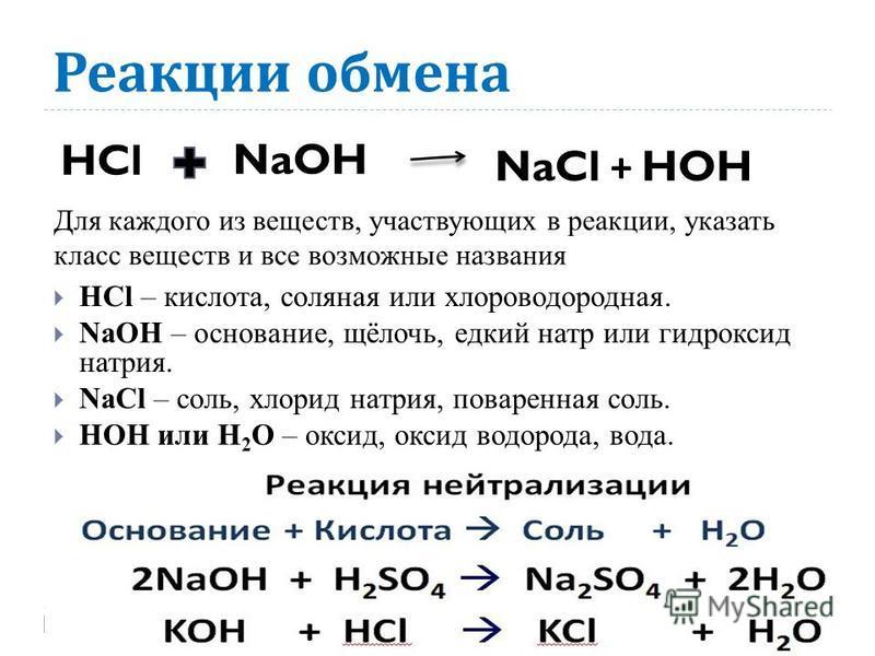 Реакции обмена HCl – кислота, соляная или хлороводородная. NaOH – основание, щёлочь, едкий натр или гидроксид натрия. NaCl – соль, хлорид натрия, поваренная соль. HOH или H 2 O – оксид, оксид водорода, вода. HClNaOH NaCl + HOH Для каждого из веществ,