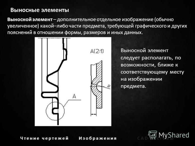 Выносные элементы Выносной элемент – дополнительное отдельное изображение (обычно увеличенное) какой–либо части предмета, требующей графического и других пояснений в отношении формы, размеров и иных данных. Выносной элемент следует располагать, по во