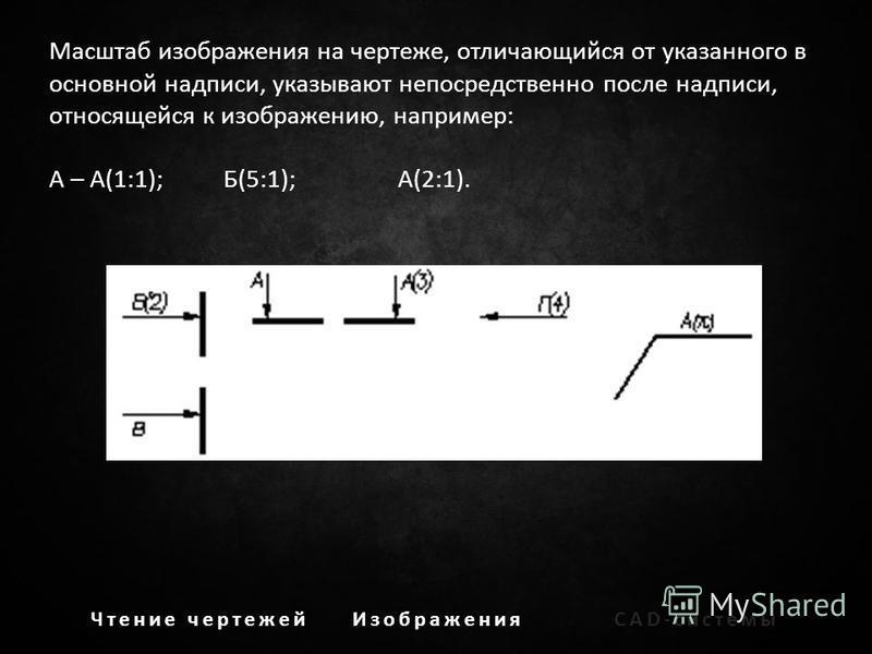 Чтение чертежей ИзображенияCAD-системы Масштаб изображения на чертеже, отличающийся от указанного в основной надписи, указывают непосредственно после надписи, относящейся к изображению, например: А – А(1:1);Б(5:1);А(2:1).