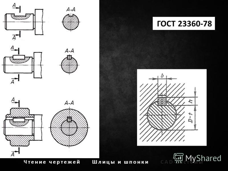 Чтение чертежей Шлицы и шпонкиCAD-системы ГОСТ 23360-78
