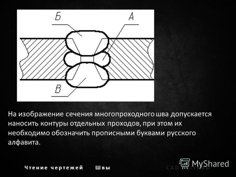 На изображение сечения многопроходного шва допускается наносить контуры отдельных проходов, при этом их необходимо обозначить прописными буквами русского алфавита.