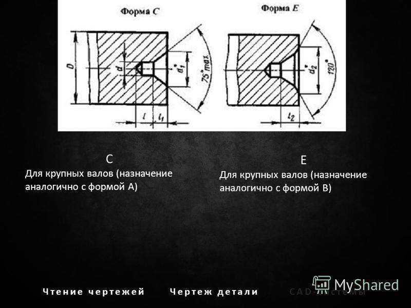 Чтение чертежей Чертеж детали CAD-системы C Для крупных валов (назначение аналогично с формой А) E Для крупных валов (назначение аналогично с формой В)