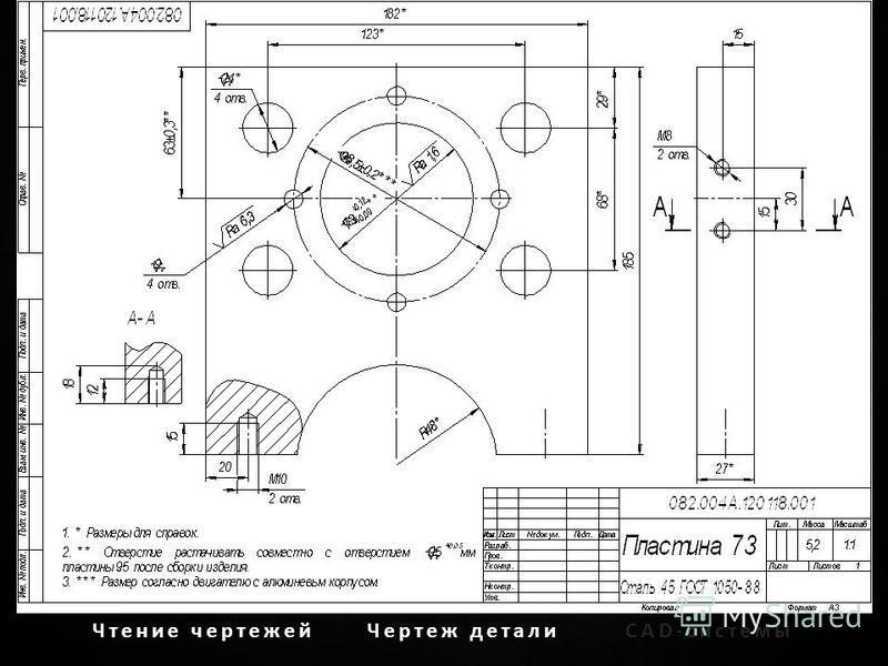 Чтение чертежей Чертеж детали CAD-системы