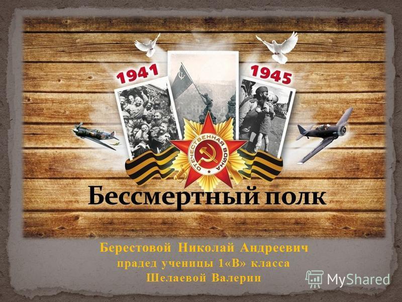 Берестовой Николай Андреевич прадед ученицы 1«В» класса Шелаевой Валерии
