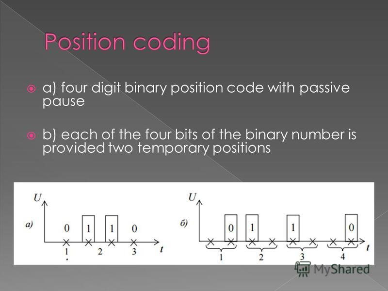 a) four digit binary position code with passive pause b) each of the four bits of the binary number is provided two temporary positions