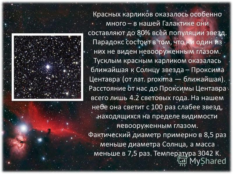 Красных карликов оказалось особенно много – в нашей Галактике они составляют до 80% всей популяции звезд. Парадокс состоит в том, что ни один из них не виден невооруженным глазом. Тусклым красным карликом оказалась ближайшая к Солнцу звезда – Проксим