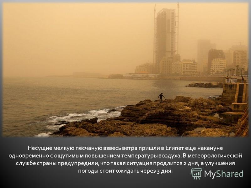 Несущие мелкую песчаную взвесь ветра пришли в Египет еще накануне одновременно с ощутимым повышением температуры воздуха. В метеорологической службе страны предупредили, что такая ситуация продлится 2 дня, а улучшения погоды стоит ожидать через 3 дня