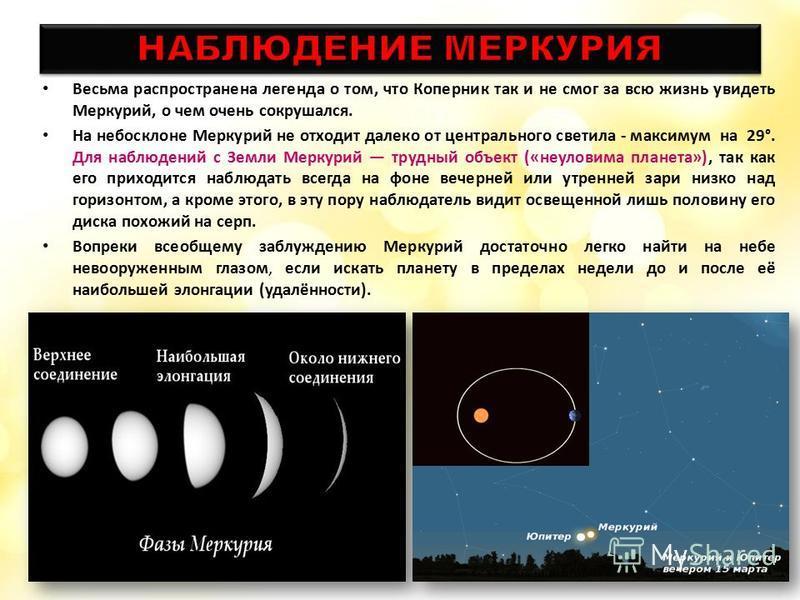 Весьма распространена легенда о том, что Коперник так и не смог за всю жизнь увидеть Меркурий, о чем очень сокрушался. На небосклоне Меркурий не отходит далеко от центрального светила - максимум на 29°. Для наблюдений с Земли Меркурий трудный объект