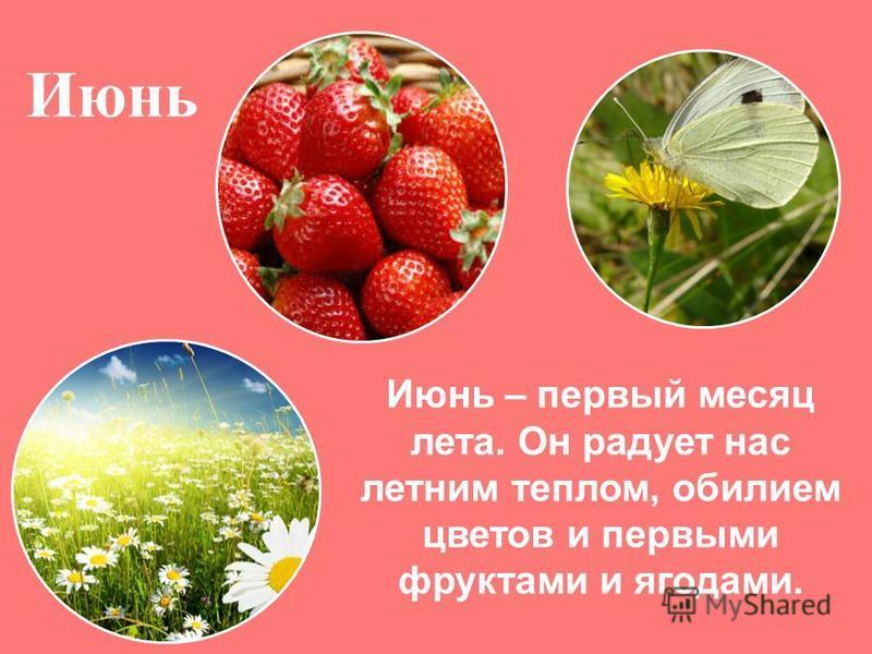 Июнь Июнь – первый месяц лета. Он радует нас летним теплом, обилием цветов и первыми фруктами и ягодами.