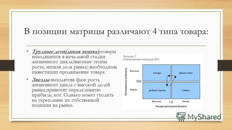 В позиции матрицы различают 4 типа товара: Трудные дети(дикая кошка)-товары находящихся в начальной стадии жизненного цикла(высокие темпы роста, низкая доля рынка).необходимы инвестиции продвижение товара. Звезды-находятся в фазе роста жизненного цик