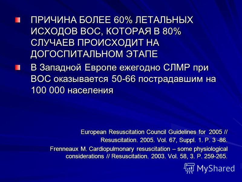 ПРИЧИНА БОЛЕЕ 60% ЛЕТАЛЬНЫХ ИСХОДОВ ВОС, КОТОРАЯ В 80% СЛУЧАЕВ ПРОИСХОДИТ НА ДОГОСПИТАЛЬНОМ ЭТАПЕ В Западной Европе ежегодно СЛМР при ВОС оказывается 50-66 пострадавшим на 100 000 населения European Resuscitation Council Guidelines for 2005 // Resusc