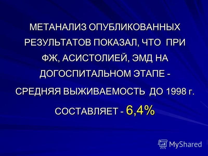 МЕТАНАЛИЗ ОПУБЛИКОВАННЫХ РЕЗУЛЬТАТОВ ПОКАЗАЛ, ЧТО ПРИ ФЖ, АСИСТОЛИЕЙ, ЭМД НА ДОГОСПИТАЛЬНОМ ЭТАПЕ - СРЕДНЯЯ ВЫЖИВАЕМОСТЬ ДО 1998 г. СОСТАВЛЯЕТ - 6,4%