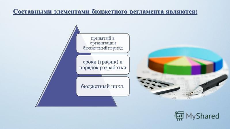 Составными элементами бюджетного регламента являются: принятый в организации бюджетный период сроки (график) и порядок разработки бюджетный цикл.