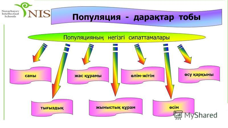 Популяция - дарақтар ччтобы Популяцияның негізгі сипаттамалары саны тығыздық жыныстық құрам өсу қарқыны өсім жас құрамыөлім-жітім