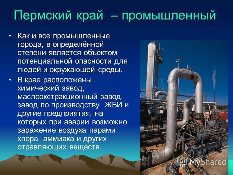 Пермский край – промышленный Как и все промышленные города, в определённой степени является объектом потенциальной опасности для людей и окружающей среды. В крае расположены химический завод, маслоэкстракционный завод, завод по производству ЖБИ и дру