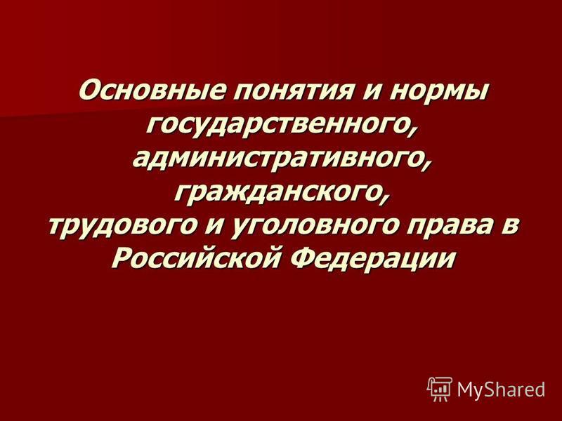Основные понятия и нормы государственного, административного, гражданского, трудового и уголовного права в Российской Федерации