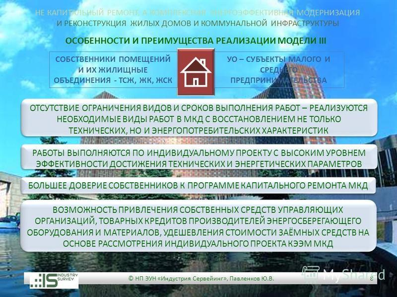 © НП ЭУН «Индустрия Сервейинг», Павленков Ю.В. 8 ОСОБЕННОСТИ И ПРЕИМУЩЕСТВА РЕАЛИЗАЦИИ МОДЕЛИ III БОЛЬШЕЕ ДОВЕРИЕ СОБСТВЕННИКОВ К ПРОГРАММЕ КАПИТАЛЬНОГО РЕМОНТА МКД РАБОТЫ ВЫПОЛНЯЮТСЯ ПО ИНДИВИДУАЛЬНОМУ ПРОЕКТУ С ВЫСОКИМ УРОВНЕМ ЭФФЕКТИВНОСТИ ДОСТИЖЕ