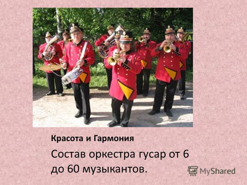 Красота и Гармония Состав оркестра гусар от 6 до 60 музыкантов.